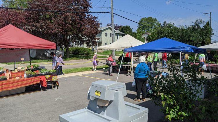 Handwashing Station at Opening Day of Monroe Farmers Market