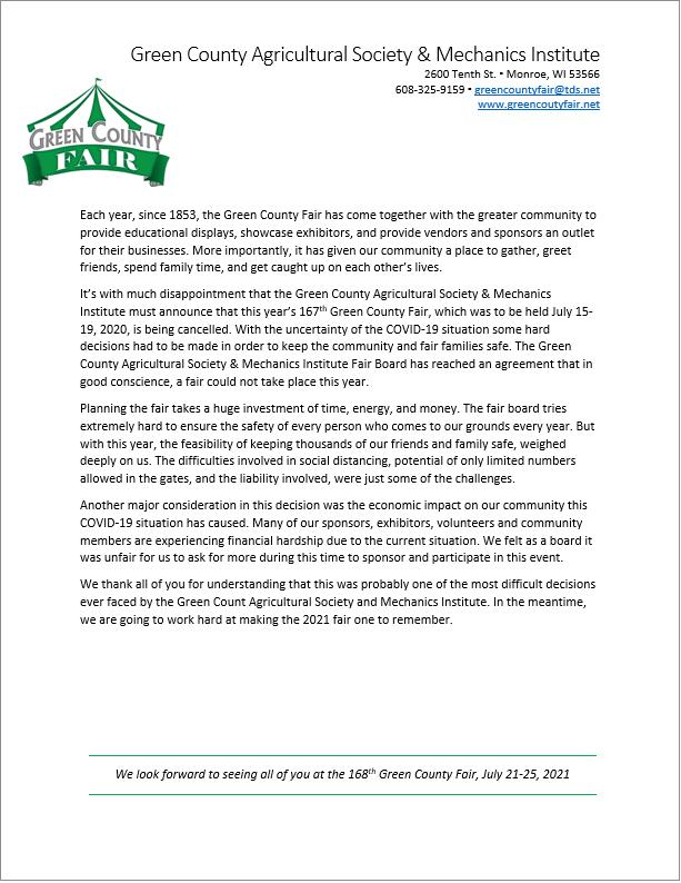 2020 Green County Fair Press Release