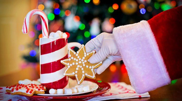 Santa Claus Taking Cookie